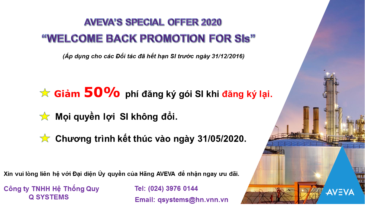 """AVEVA'S SPECIAL OFFER 2020:  """"WELCOME BACK PROMOTION FOR SIs"""""""